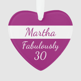 30th Birthday Personalize Fabulously 30 pink Ornament