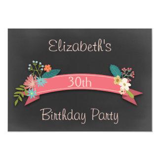 30th Birthday Pink Banner Flowers Chalkboard Card