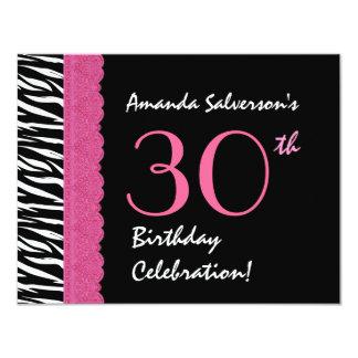 30th Birthday Pink Black Zebra Ver 5 G434A 11 Cm X 14 Cm Invitation Card
