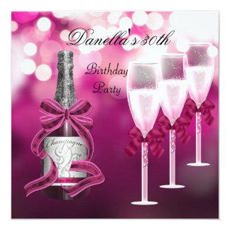30th Birthday Pink Champagne Glasses Card