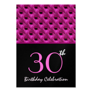 30th Birthday Pink Peacock Feathers Template Card
