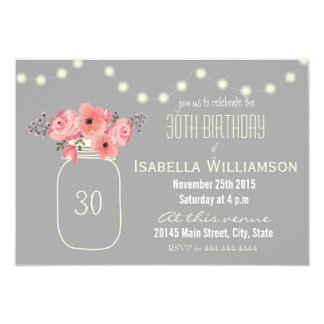 30th Birthday Pink Watercolor Flowers & Mason Jar 9 Cm X 13 Cm Invitation Card