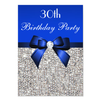 30th Birthday Royal Blue Bow Silver Sequins Card