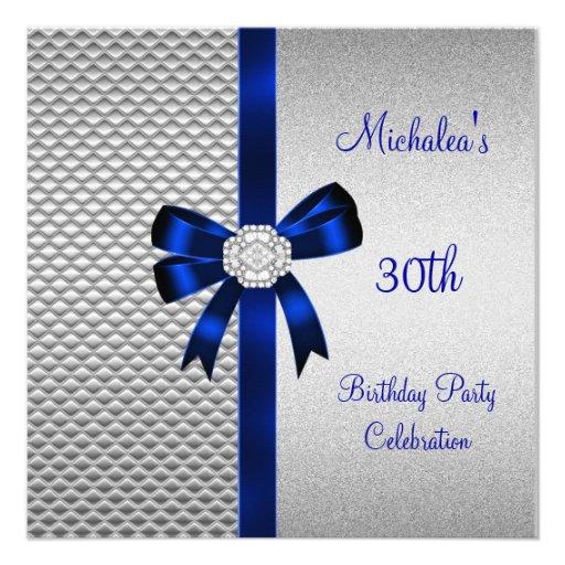 30th Birthday Silver Tiles Blue Diamond Bow Custom Invites