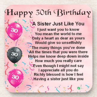 30th Birthday Sister Poem Coasters