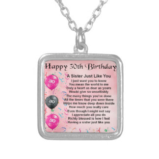 30th Birthday Sister Poem Silver Plated Necklace