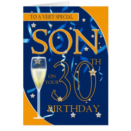 30th Birthday Son - Champagne Glass Greeting Cards