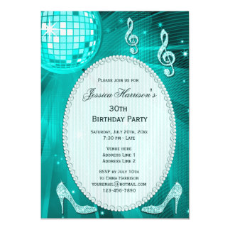 30th Birthday Sparkle Heels and Teal Disco Ball Magnetic Invitations