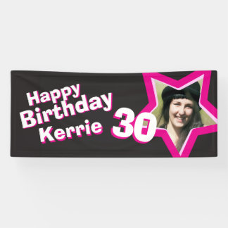 30th birthday star custom photo banner