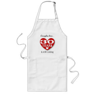 30th Birthday Still Cooking Double Hearts 30Z Long Apron