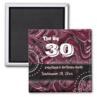30th Birthday Swag Magnet ~ Red Marbled