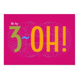 30th Birthday - the Big 3-OH! 13 Cm X 18 Cm Invitation Card
