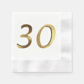 30th Birthday Wedding Anniversary Gold Number Disposable Napkin