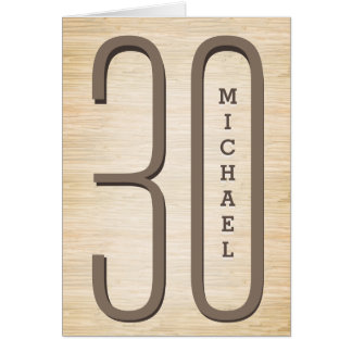 30th Birthday Wood Grain Card