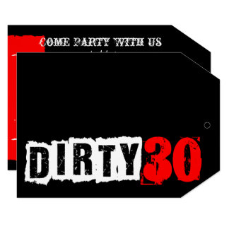 30th Black & Red Dirty Thirtieth Party Card