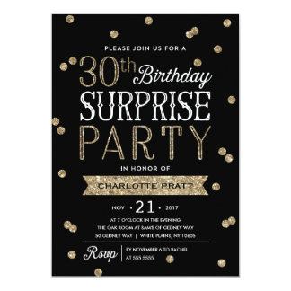 30th Glitter Confetti Surprise Party Invitation