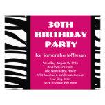 30th Hot Pink Zebra Invitations