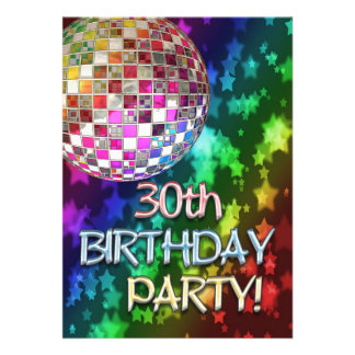 30th party with disco ball and rainbow of stars personalized announcements
