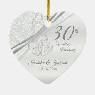 30th Pearl Wedding Anniversary Ceramic Ornament