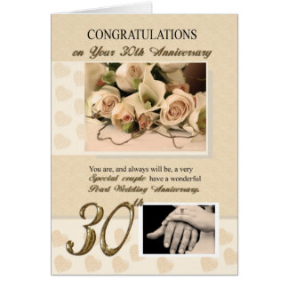 30th Pearl Wedding Anniversary Greeting Card