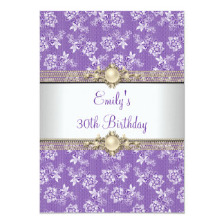 30th Purple Floral Pearl Birthday Party Invitations
