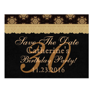 30th Save the Date Birthday Pale Gold Lace Black 2 Postcard