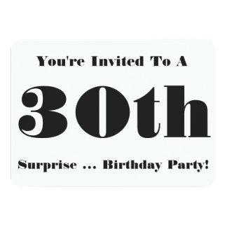 30th Surprise Birthday party Invite, black & white 11 Cm X 16 Cm Invitation Card