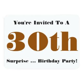 30th Surprise Birthday party Invite, gold, white 11 Cm X 16 Cm Invitation Card
