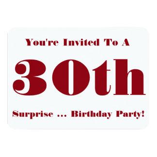 30th Surprise Birthday party Invite, red and white 11 Cm X 16 Cm Invitation Card