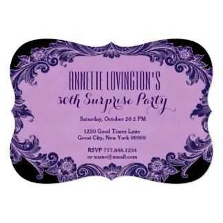30th Surprise Birthday Party Purple Vintage V06G1 Card