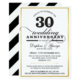 30TH WEDDING ANNIVERSARY classy stylish gold black Card