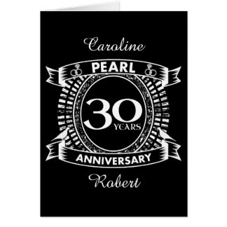 30th wedding anniversary pearl crest card