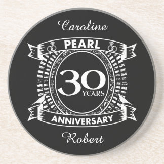 30th wedding anniversary pearl crest coaster