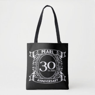 30th wedding anniversary pearl crest tote bag