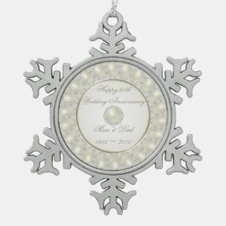 30th Wedding Anniversary Pewter Snowflake Ornament