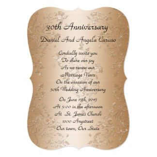 30th Wedding anniversary vow renewal gold satin Card