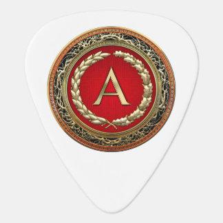 """[310] """"A"""" Gold Vintage Monogram Guitar Pick"""