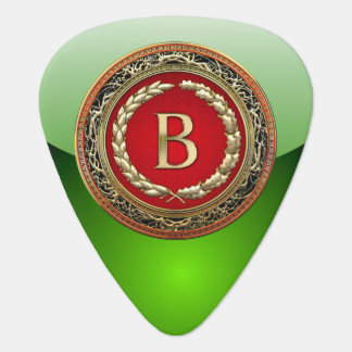 "[310] ""B"" Gold Vintage Monogram Guitar Pick"