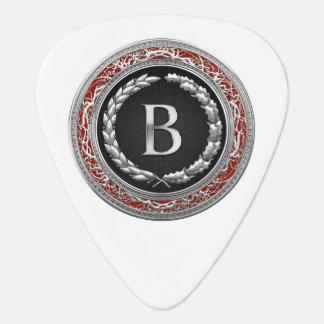 "[310] ""B"" Silver Vintage Monogram Guitar Pick"