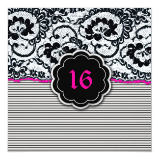 311-Alluring Lace - Sweet Sixteen 13 Cm X 13 Cm Square Invitation Card