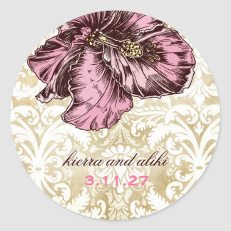 311-Aloha Hibiscus Vintage Damask Classic Round Sticker