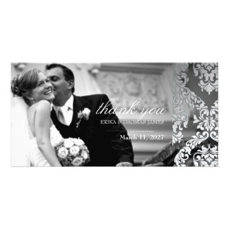 311 Alonnah Damask Silver Customized Photo Card