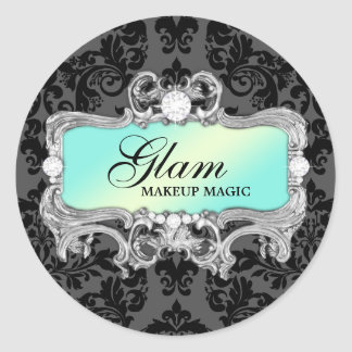 311 Aqua Glam Crazy Sticker Black Damask
