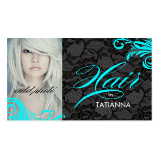 311 Aqua & Lace Hair By Business Card