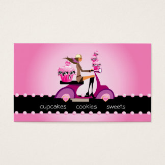 311 Bakery Business Card Zebra Cupcake Scooter