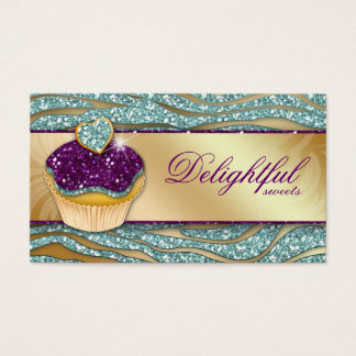 311 Bakery Business Card Zebra Cupcake Sparkle Tea