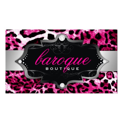 311 Baroque Boutique Hot Pink Leopard Business Card Templates