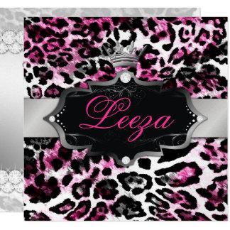 311-Baroque Princess Black Pink Leopard Metallic 13 Cm X 13 Cm Square Invitation Card