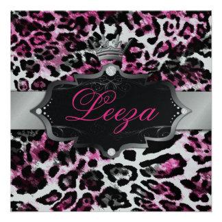 311-Baroque Princess Black Pink Leopard Metallic Personalized Invitations