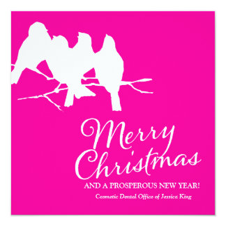 311 Birds on a Branch Hot Pink 13 Cm X 13 Cm Square Invitation Card